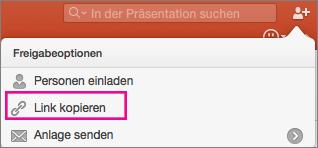 """PowerPoint für Mac-Freigabeoptionen, """"Link kopieren"""""""