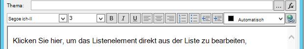 """Bildschirm """"e-Mail-Nachricht definieren"""" nach dem Einfügen einer Variablen"""