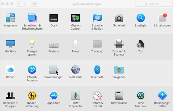 Screenshot der Systemeinstellungen auf einem Mac