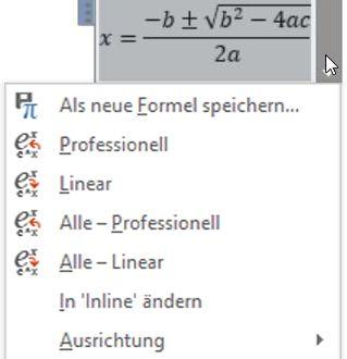 """Bildschirm mit den Optionen """"Professionell"""" und """"Linear"""""""