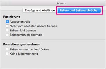 """Dialogfeld """"Absatz"""" mit """"Zeilenumbruch"""" und """"Seitenumbruch"""" hervorgehoben"""