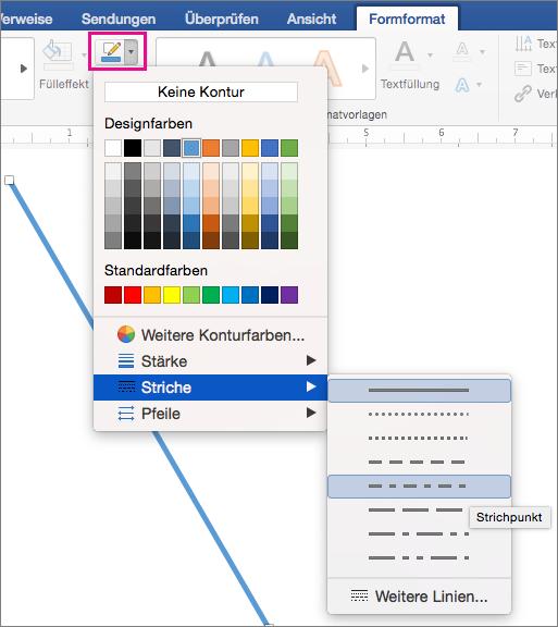 """Registerkarte """"Formformatierung"""" mit hervorgehobener Option """"Formkontur"""" und den Menüelemente unter """"Striche"""""""