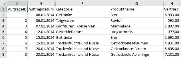 Abbildung einer CSV-Datei