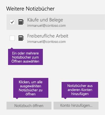 """Screenshot des Fensters """"Weitere Notizbücher"""" in OneNote"""