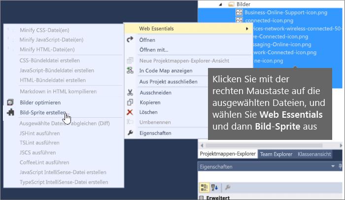 Screenshot, der zeigt, wie ein Bildsprite erstellt wird