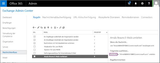 """Der Screenshot zeigt die Seite """"Regeln"""" des Bereichs """"Nachrichtenfluss"""" in Exchange Admin Center. Für die Regel ist das """"Ein""""-Kontrollkästchen aktiviert, um die E-Mails des Benutzers Allie Bellew umzuleiten."""