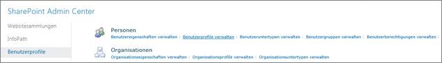 Den Link Benutzerprofile verwalten auf der Profilseite