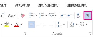 Der Befehl 'Einblenden/Ausblenden' auf der Registerkarte 'Start' in Word 2013.