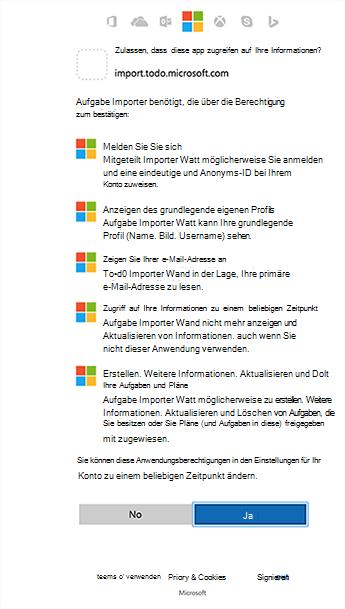 Screenshot mit den Berechtigungen des Importers