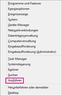"""Befehl """"Ausführen"""" nach dem Rechtsklick auf """"Start"""" in Windows8 und Windows10"""