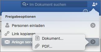 Wählen Sie das Format für das zu sendende Dokument aus: Word-Dokument oder PDF.