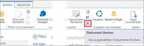 Löschen einer App aus der Bibliothek 'Apps für SharePoint' im App-Katalog
