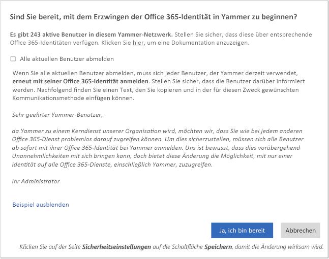 Screenshot des Bestätigungsdialogfeld mit Beispieltext für eine E-Mail an die Benutzer über die Änderung.