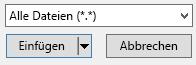"""Der Dateitypfilter im Dialogfeld """"Video einfügen"""" verfügt über die Option """"alle Dateien""""."""