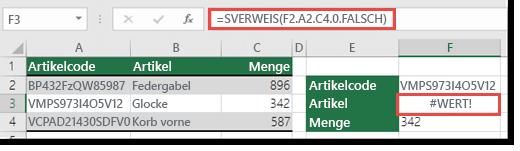 Der #WERT!-Fehler wird angezeigt, wenn das Spaltenindexargument kleiner als 1 ist.