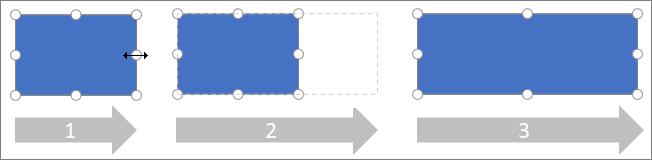 Ändern der Größe einer Seite eines Shapes