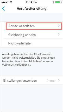Skype for Business für iOS, Anrufweiterleitungsbildschirm