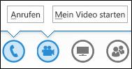 Screenshot der Audio- und Kameraschaltflächen