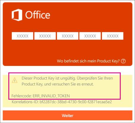 """Fehlercode, der gezeigt wird, wenn auf """"http://office.com/setup"""" ein falscher Product Key eingegeben wird."""