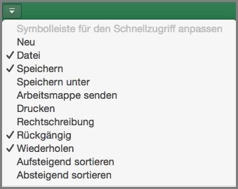 """Office 2016 für Mac – Menü """"Symbolleiste für den Schnellzugriff anpassen"""""""