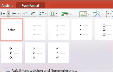 """Screenshot der verfügbaren Aufzählungszeichen bei Auswahl des Pfeils auf der Schaltfläche """"Aufzählungszeichen"""""""
