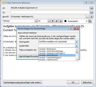Sie können mit den Optionen im Dialogfeld 'Nachschlagen für Zeichenfolge' einer Aufgabenbenachrichtigung dynamischen Inhalt hinzufügen.