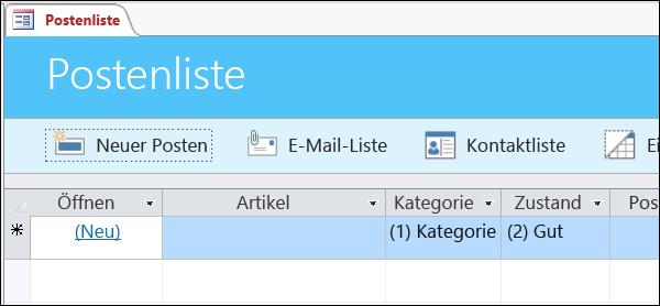 """Formular """"Postenliste"""" in der Access-Datenbankvorlage """"Posten"""""""