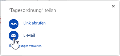 "Screenshot: Auswahl der Option ""E-Mail"" im Dialogfeld ""Freigeben"" in OneDrive"