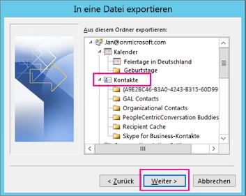 Scrollen Sie nach oben, und wählen Sie dann den Kontaktordner aus, den Sie exportieren möchten.