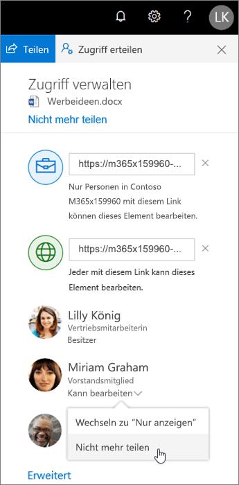 Ändern oder Beenden der Freigabe in OneDrive