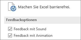 """Teilansicht der Excel-Einstellungen für """"Erleichterte Bedienung"""""""