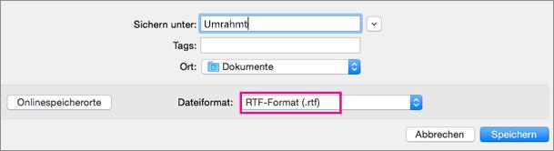 Speichern als RTF-Datei