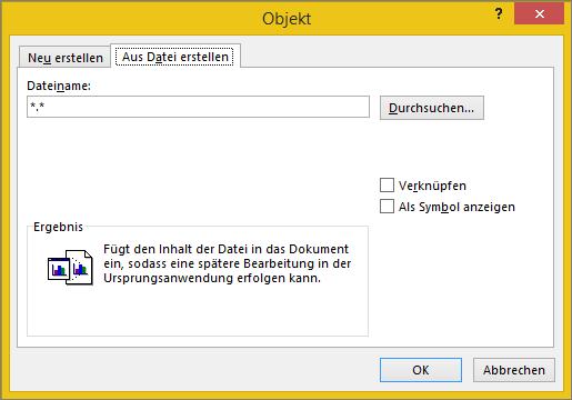 "Registerkarte ""Aus Datei erstellen"" im Dialogfeld ""Objekt"""