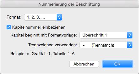 Hinzufügen von Kapitelnummern automatisch zu Ihrer Beschriftungen in Word