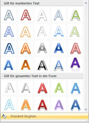 Katalog der WordArt-Formate