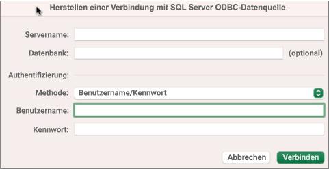 Das SQL Server zum Eingeben von Server, Datenbank und Anmeldeinformationen