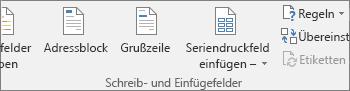 """In Word auf der Registerkarte """"Sendungen"""" die Gruppe """"Schreib- und Einfügefelder"""""""