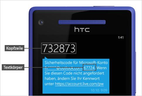 Textnachricht mit Code.