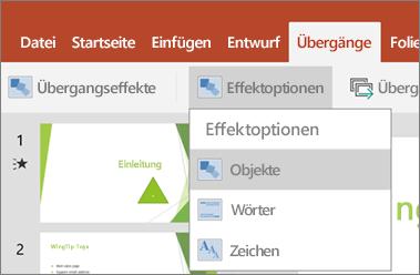 """Zeigt das Menü """"Übergänge"""" > """"Effektoptionen"""" in PowerPoint für Android."""