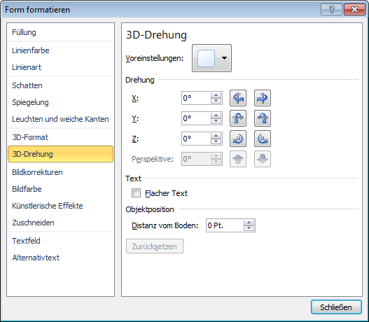 "3D-Drehung im Dialogfeld ""Form formatieren"""