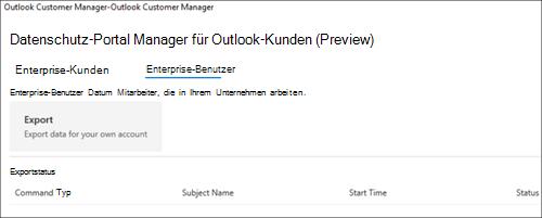Screenshot: Exportieren von Mitarbeiterdaten von Outlook Customer Manager