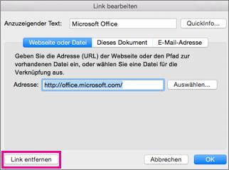 """Office für Mac, """"Link entfernen"""""""
