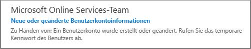 Sie erhalten eine E-Mail vom Microsoft Online Services-Team.