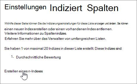 Indizierte Spaltenseite mit dem Erstellen eines neuen Index hervorgehoben