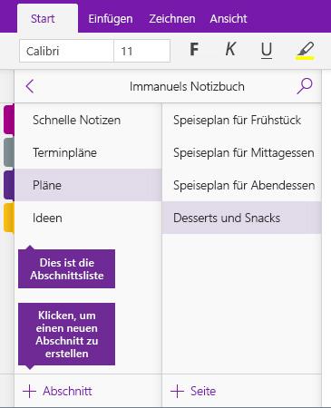 """Screenshot der Schaltfläche """"Abschnitt hinzufügen"""" in OneNote"""