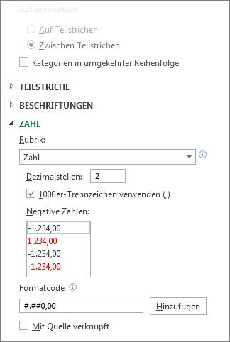 Optionen zum Formatieren von Zahlen für die Größenachse