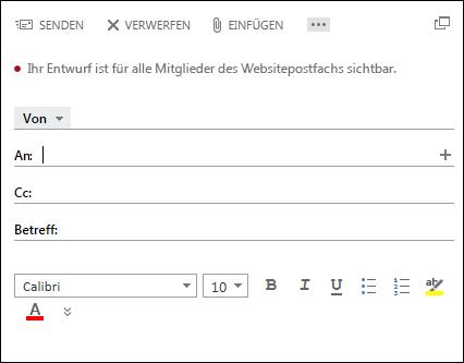 Schaltfläche 'Neue E-Mail' in einem Websitepostfach.
