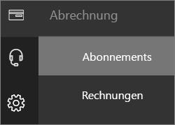 """Menü """"Abrechnung"""" im neuen Office 365 Admin Center, """"Abonnements"""" ausgewählt"""