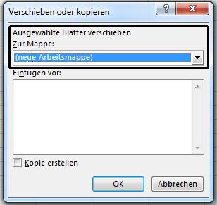 "Das Dialogfeld ""Verschieben oder kopieren""."