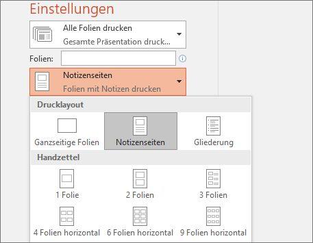 Drucken von Folien mit oder ohne Sprechernotizen   PowerPoint